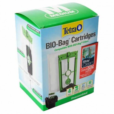 Tetra Bio-Bag Cartridges with Stay Clean - Medium - 4 Count - 2 Pieces