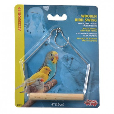 Living World Wood Perch Bird Swings - 4 in. Long x 5 in. High - 4 Pieces