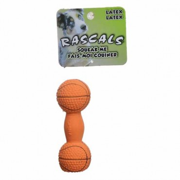 Rascals Latex Basketball Dumbbell Dog Toy - 4 in. Long - 4 Pieces