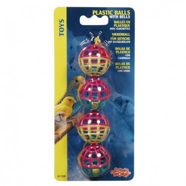 Living World Plastic Balls with Bells Bird Toy - 4 Pack - 4 Pieces