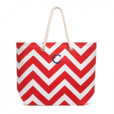 Personalized Large Cabana Canvas Tote Bag - Red