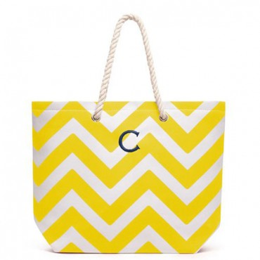 Personalized Large Cabana Canvas Tote Bag - Yellow