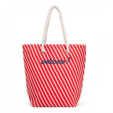 Personalized Cabana Nylon/Cotton Blend Beach Tote Bag - Red Stripe
