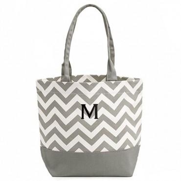Personalized Initial Chevron Cotton Canvas Tote Bag - Grey