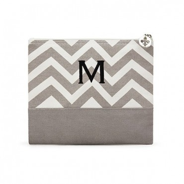 Large Personalized Chevron Makeup Bag - Grey