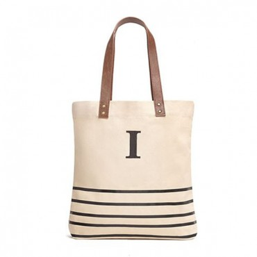 Personalized Annie Stripe Large Canvas Tote Bag - Black