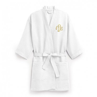 Women's Personalized Embroidered Waffle Spa Robe - White