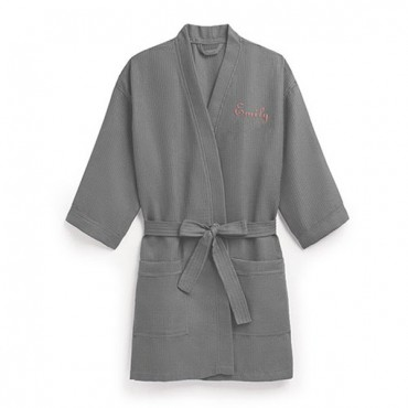 Women's Personalized Embroidered Waffle Spa Robe - Grey