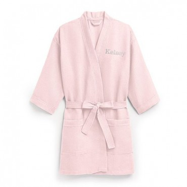 Women's Personalized Embroidered Waffle Spa Robe - Blush