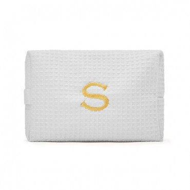 Women's Large Personalized Cotton Waffle Makeup Bag - White