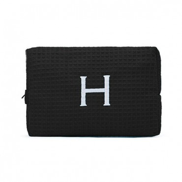 Women's Large Personalized Cotton Waffle Makeup Bag - Black