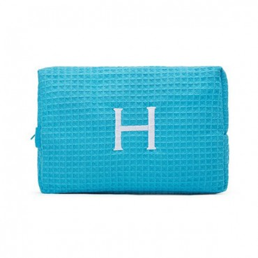 Women's Large Personalized Cotton Waffle Makeup Bag - Turquoise Blue