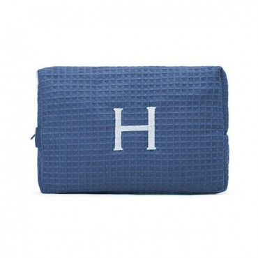 Women's Large Personalized Cotton Waffle Makeup Bag - Navy Blue