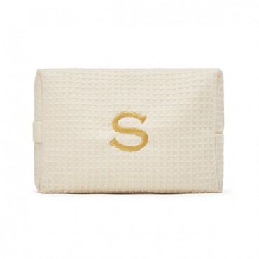 Women's Large Personalized Cotton Waffle Makeup Bag - Ivory