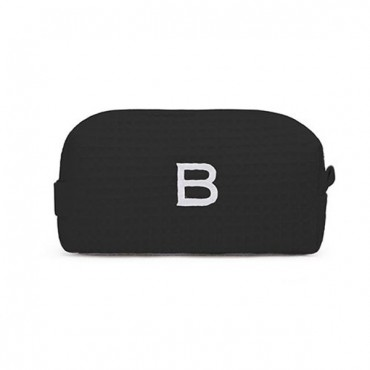 Personalized Small Cotton Waffle Makeup Bag - Black
