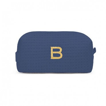 Personalized Small Cotton Waffle Makeup Bag - Navy Blue