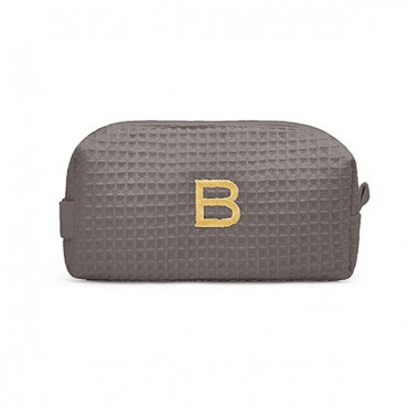 Personalized Small Cotton Waffle Makeup Bag - Gray
