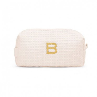Personalized Small Cotton Waffle Makeup Bag - Ivory