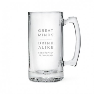 Etched Glass 25 Oz Beer Mug - Great Minds Drink Alike