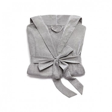 Women's Grey Hooded Spa & Bath Robe - White Stitching