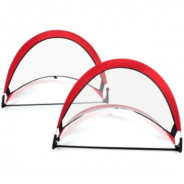 Two Pop Up Soccer Goal Set Foldable Training Football Net