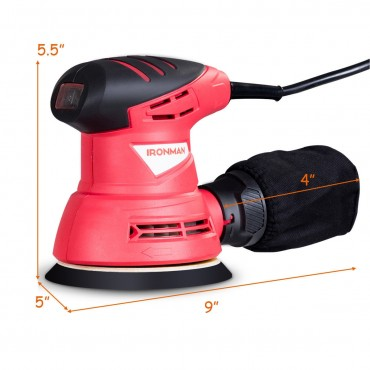 5 In. Palm Random Orbit Sander With Dust Collector And Sandpapers