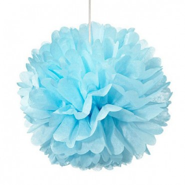 Small Paper Pom Pom - Blue - 6 Pieces