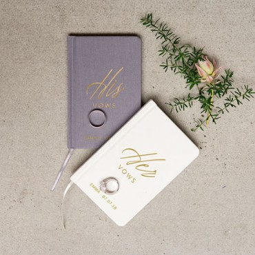 Ivory Linen Pocket Journal - His Vows Emboss