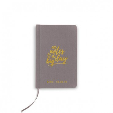 Charcoal Linen Pocket Journal - Little Notes Emboss