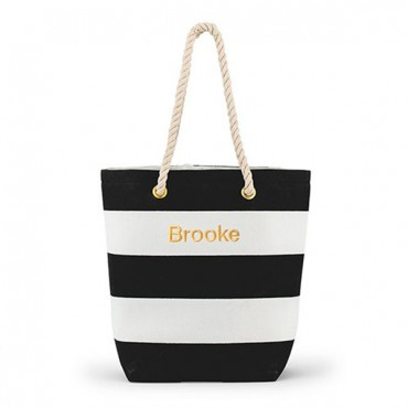 Personalized Large Bliss Canvas Tote Bag - Black And White