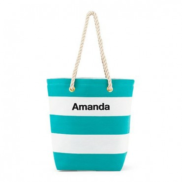 Personalized Large Bliss Canvas Tote Bag - Blue And White