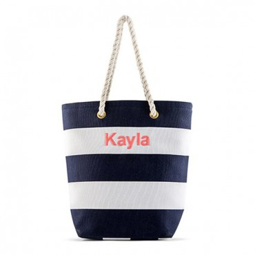 Personalized Large Bliss Canvas Tote Bag - Navy And White