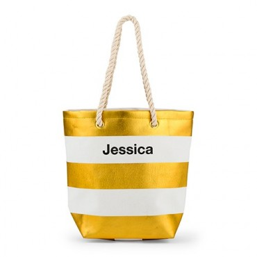 Personalized Large Bliss Canvas Tote Bag - Gold And White