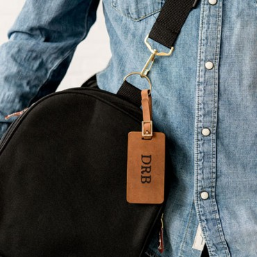 Tanned Genuine Leather Luggage Tag - Personalized