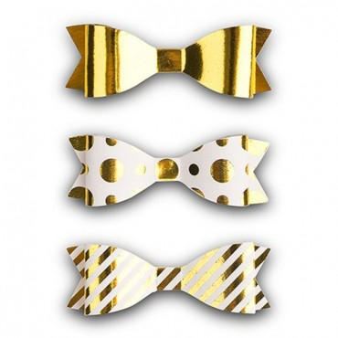 Medium Assorted Metallic Gold Paper Bows - 3 Pieces