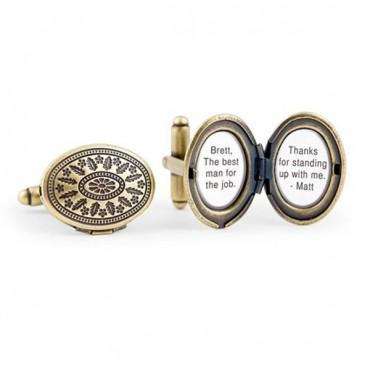 Love Locket Cufflinks - Antique Gold