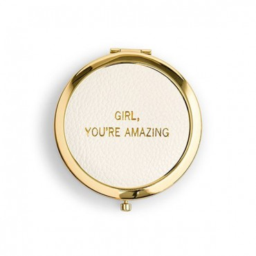 Faux Leather Compact Mirror - You're Amazing Emboss