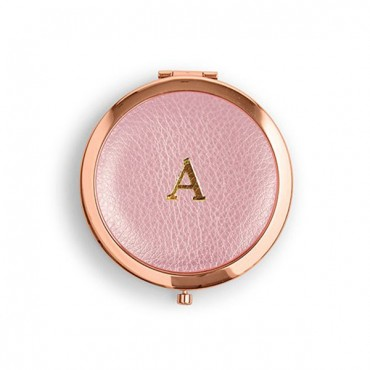 Faux Leather Compact Mirror - Initial Monogram Emboss