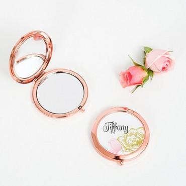 Designer Compact Mirror - Modern Floral Print