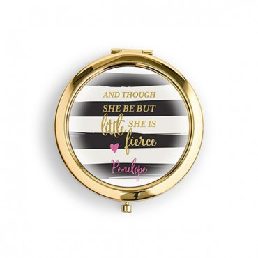 Designer Compact Mirror - Little But Fierce Print