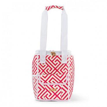 On-The-Go Cooler Bag - Pink & White Greek Key