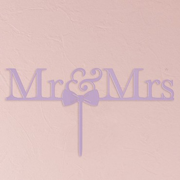 Mr & Mrs Bow Tie Acrylic Cake Topper - Lavender