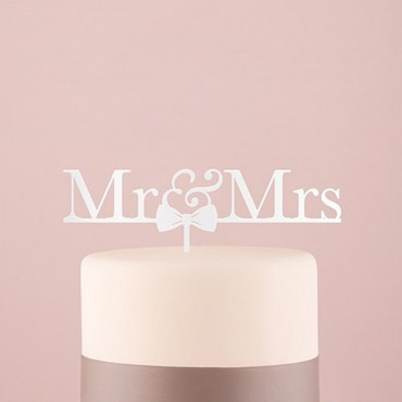 Mr & Mrs Bow Tie Acrylic Cake Topper - White