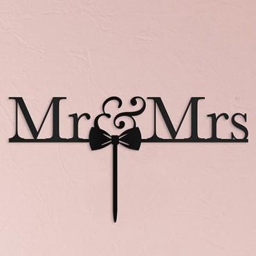 Mr & Mrs Bow Tie Acrylic Cake Topper - Black
