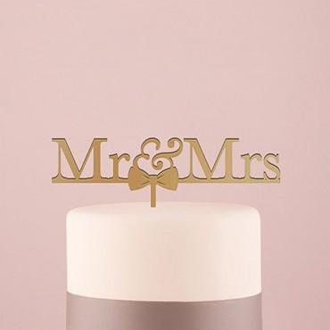 Mr & Mrs Bow Tie Acrylic Cake Topper - Metallic Gold