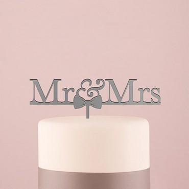 Mr & Mrs Bow Tie Acrylic Cake Topper - Metallic Silver