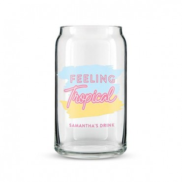 Can Shaped Glass Personalized - Feeling Tropical Print