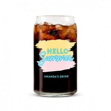 Can Shaped Glass Personalized - Hello Summer Print