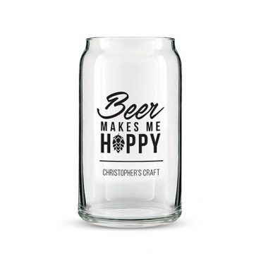 Beer Can Shaped Glass Personalized - Beer Makes Me Happy Printing