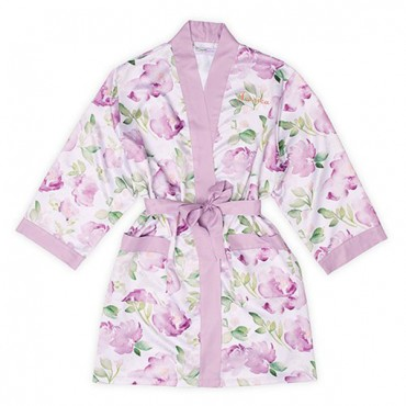 Women's Personalized Embroidered Floral Satin Robe With Pockets - Lavender